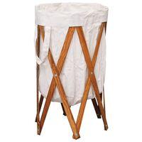 vidaXL Składany kosz na pranie, kremowy, drewno i tkanina