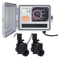vidaXL Sterownik nawadniania ogrodu z 2 zaworami elektromagnetycznymi
