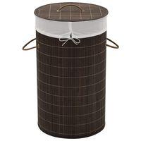 vidaXL Bambusowy kosz na pranie okrągły, ciemnobrązowy kolor