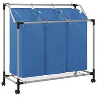 vidaXL Sortownik na pranie z 3 pojemnikami, niebieski, stalowy