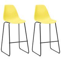 vidaXL Krzesła barowe, 2 szt., żółte, plastik