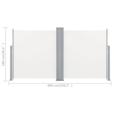vidaXL Zwijana markiza boczna, kremowa, 100 x 600 cm