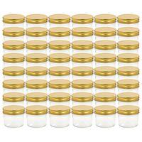 vidaXL Szklane słoiki na dżem, złote pokrywki, 48 szt., 110 ml