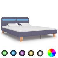 vidaXL Rama łóżka LED, jasnoszara, tkanina, 160 x 200 cm
