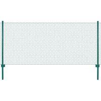 vidaXL Siatka ogrodzeniowa ze słupkami, stal, 25 x 1 m, zielony