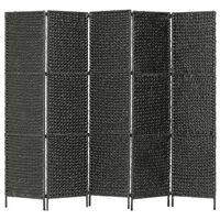 vidaXL 5-panelowy parawan pokojowy, czarny, 193x160 cm, hiacynt wodny