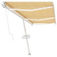vidaXL Ręcznie zwijana markiza z LED, 600 x 300 cm, żółto-biała