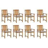 vidaXL Krzesła ogrodowe z poduszkami, 8 szt., lite drewno akacjowe