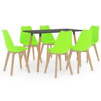 vidaXL 7-częściowy zestaw mebli jadalnianych, zielony