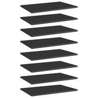 vidaXL Półki na książki, 8 szt., wysoki połysk, czarne, 60x40x1,5 cm