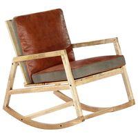 vidaXL Fotel bujany, brązowy, skóra naturalna i lite drewno mango
