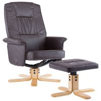 vidaXL Fotel z podnóżkiem, brązowy, sztuczna skóra