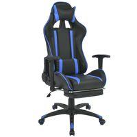 vidaXL Regulowane krzesło biurowe z podnóżkiem, niebieskie