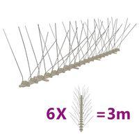 vidaXL Kolce przeciw ptakom, 4 rzędy, plastikowe, 6 szt., 3 m