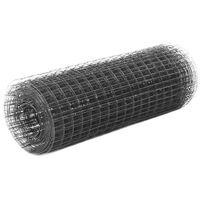 vidaXL Ogrodzenie z siatki, stal i PVC, 25x0,5 m, szare