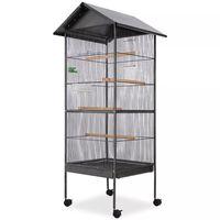 vidaXL Klatka dla ptaków, stalowa, czarna, 66x66x155cm