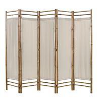 vidaXL 5-panelowy składany parawan z bambusowa i płótna, 200 cm