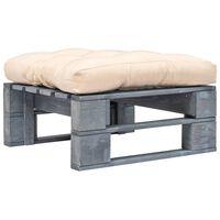 vidaXL Ogrodowe siedzisko z palet, piaskowa poduszka, szare drewno