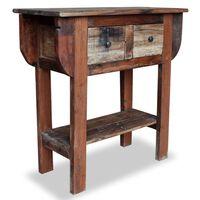 vidaXL Stolik konsola, lite drewno z odzysku, 80 x 35 x 80 cm