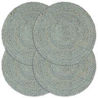 vidaXL Maty na stół, 4 szt., gładkie, oliwkowe, 38 cm, okrągłe, juta