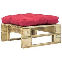 vidaXL Ogrodowy stołek z palet z czerwoną poduszką, drewno