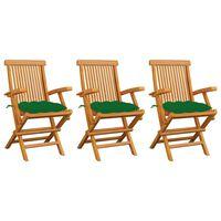 vidaXL Krzesła ogrodowe, zielone poduszki, 3 szt., lite drewno tekowe