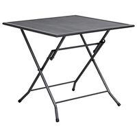 vidaXL Składany stolik z siatką, 80x80x72 cm, stalowy, antracytowy