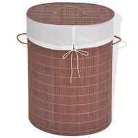 vidaXL Bambusowy kosz na pranie, owalny, brązowy