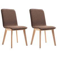 vidaXL Krzesła stołowe, 2 szt., brązowe, tkanina i lity dąb