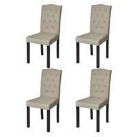 vidaXL Krzesła stołowe, 4 szt., beżowe, tkanina