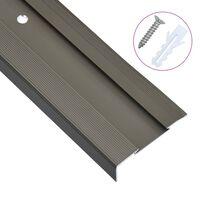 vidaXL Profile schodowe, kształt L, 15 szt., aluminium, 100 cm, brąz