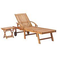 vidaXL Leżak ze stolikiem, lite drewno tekowe