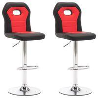 vidaXL Krzesła barowe, 2 szt., czerwone, sztuczna skóra