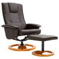 vidaXL Fotel obrotowy z podnóżkiem, brązowy, sztuczna skóra