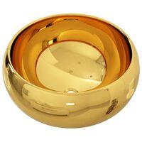 vidaXL Umywalka, 40 x 15 cm, ceramiczna, złota