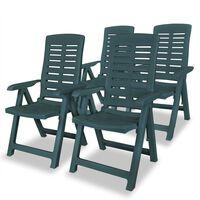 vidaXL Rozkładane krzesła ogrodowe, 4 szt., plastikowe, zielone