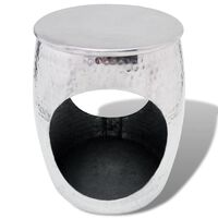 VidaXL Taboret/Stolik boczny w kształcie beczki, aluminium srebrne
