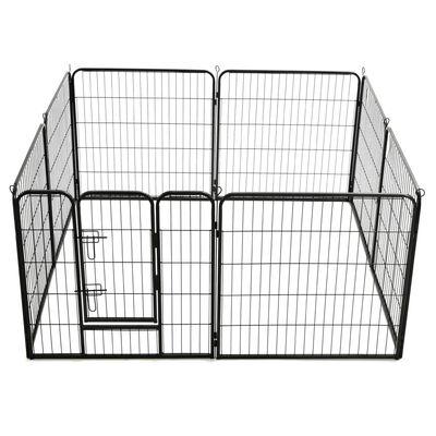 vidaXL Kojec dla psów, 8 paneli, stalowy, czarny, 80 x 80 cm