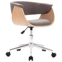 vidaXL Obrotowe krzesło biurowe, taupe, gięte drewno i tkanina