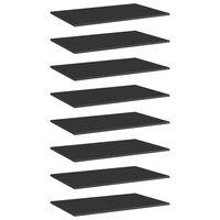 vidaXL Półki na książki, 8 szt., wysoki połysk, czarne, 80x50x1,5 cm