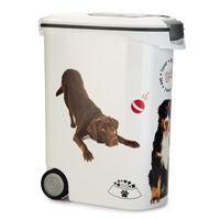 Curver Pojemnik na karmę dla zwierząt, z kółkami, 54 L, wzór z psem