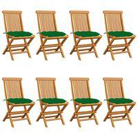 vidaXL Krzesła ogrodowe z zielonymi poduszkami, 8 szt., drewno tekowe