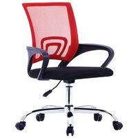 vidaXL Krzesło biurowe z siatkowym oparciem, czerwone, tkanina