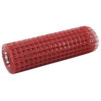 vidaXL Ogrodzenie z siatki, stal i PVC, 25x0,5 m, czerwone