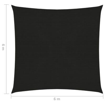 vidaXL Żagiel przeciwsłoneczny, 160 g/m², czarny, 6x6 m, HDPE