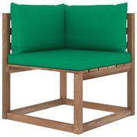 vidaXL Ogrodowa sofa narożna z palet, z zielonymi poduszkami