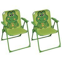 vidaXL Krzesełka ogrodowe dla dzieci, 2 szt., zielone, tkanina