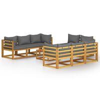 vidaXL 9-cz. zestaw wypoczynkowy do ogrodu, poduszki, drewno akacjowe