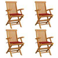 vidaXL Krzesła ogrodowe, czerwone poduszki, 4 szt., lite drewno tekowe