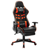 vidaXL Fotel dla gracza z podnóżkiem, czarno-pomarańczowy